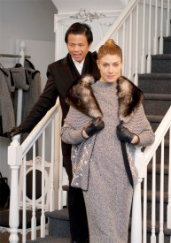 Zang Toi (L) with a model wearing his Fall 2009 collection