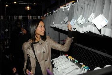 Zoe Saldana shopping at McQ Target Market