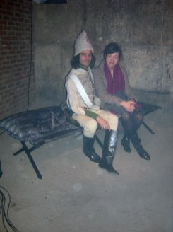 Lidia Bardina (right) with model dressed in Napoleonic Army uniform