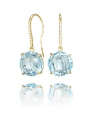 Yellow Gold Earrings with Blue Topaz and Diamonds $1,100