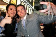 Chris Pine with a fan