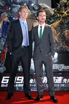 Director Michael Bay (L) and actor Shia LaBeouf