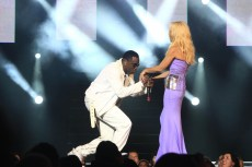 P. Diddy and Donatella Versace on stage