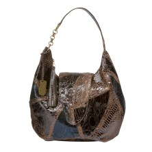 Faux-Snakeskin Collage Flap Hobo in Brown, $39.99
