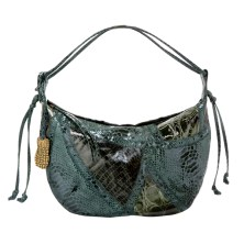Faux-Snakeskin Collage Hobo in Green, $19.99