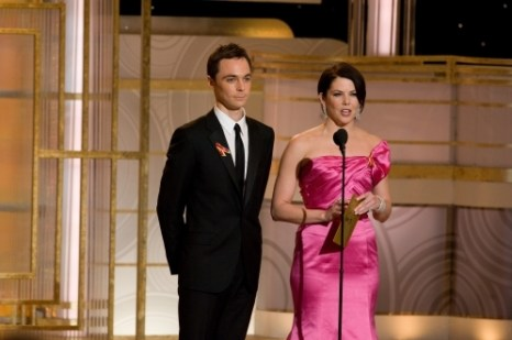 Jim Parsons (in Calvin Klein Collection) and Lauren Graham