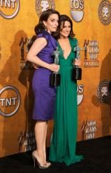 Tina Fey in Salvatore Ferragamo and Lea Michelle in Malandrino