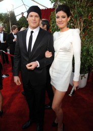Michael C. Hall (in Calvin Klein Collection) and Jennifer Carpenter
