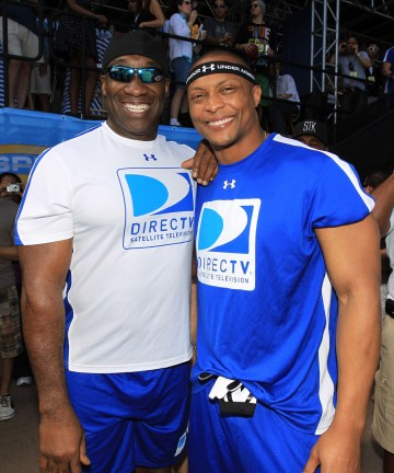 Michael Clarke Duncan (L) and former NFL player Eddie George