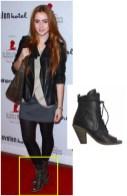Lily Collins wearing AllSaints Avanti Boots