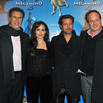 Will Ferrell, Angelina Jolie, Brad Pitt, and director Tom McGrath