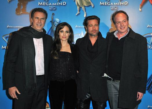 Will Ferrell, Angelina Jolie, Brad Pitt, and director Tom McGrath