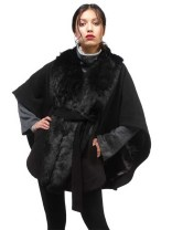 Luxe Rachel Zoe Cape with Faux Fur Collar and Removable Belt