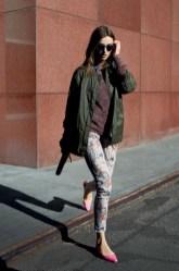 Jen Jacket, Serenity Sweater, Harley Shirt - Pansy Kaleidoscope, Jessie Pant, Jenna Printed Clutch
