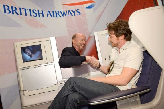 James McAvoy (The Disappearance of Eleanor Rigby) and Paul Haggis (Third Person) play nice in the British Airways Club World seat during the 2013 TIFF