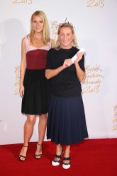 Gwyneth Paltrow & Miuccia Prada (winner, International Designer of the Year)