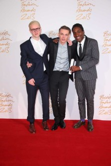 Sam Cotton, Jamie Campbell Bower & Agi Mdumulla (Agi & Sam) (winners, Emerging Menswear Designer)
