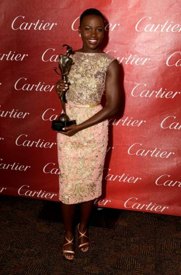 Lupita Nyong'o, nominated for Best Supporting Actress seen here wearing Elie Saab Haute Couture
