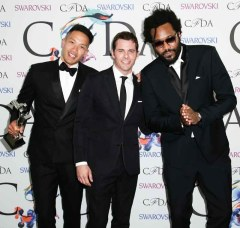 MENSWEAR AWARD WINNERS - PUBLIC SCHOOL DAO-YICHOW MAXWELLOSBORNE WITH PRESENTER JAMES MARSDEN (CENTER)