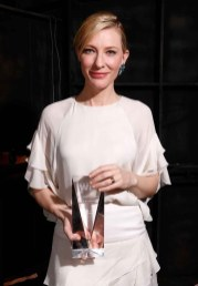 Cate Blanchett in Chloe with her Crystal Award