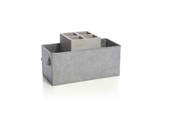 Crate and Barrel GalvanizedCaddyWTrayAV3S14