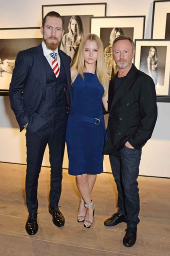Justin O'Shea, Buying Director of Mytheresa.com, Lottie Moss and Kevin Carrigan, Global Creative Director of Calvin Klein Jeans,