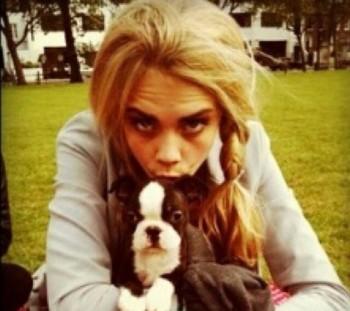 Cara Delevingne and dog