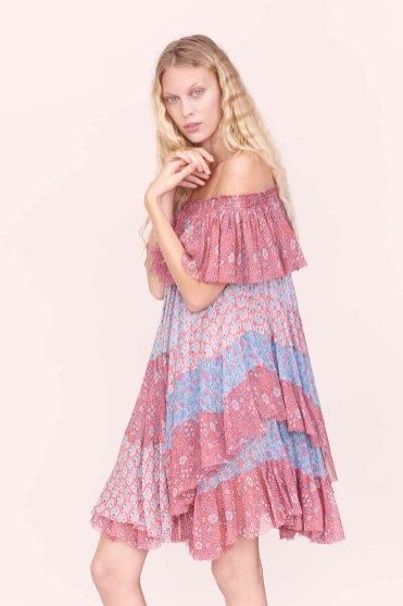 Rebecca Taylor Mixed Pring Off-The-Shoulder Dress Spring 2016