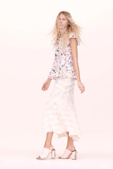 Rebecca Taylor Floral Ruffle Top and Bias Fringe Midi Skirt Spring 2016