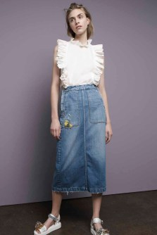 Rebecca Taylor Solid Silk Ruffle Top & La Vie Denim Skirt
