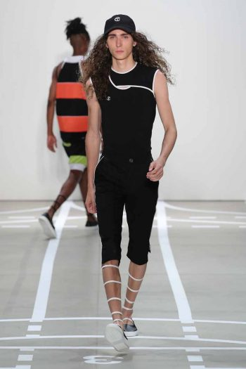 NEW YORK, NY - SEPTEMBER 08:  A model walks the runway at Telfar fashon show during New York Fashion Week: The Shows at The Gallery, Skylight at Clarkson Sq on September 8, 2016 in New York City.  (Photo by Neilson Barnard/Getty Images for Telfar)