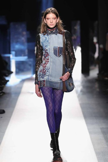 DESIGUAL_NYFW_AW17_ATWALK_LOOK 12 NEW YORK, NY - FEBRUARY 09:A model walks the runway at the Desigual show New York Fashion Week The Shows at Gallery 1, Skylight Clarkson Sq on February 9, 2017 in New York City
