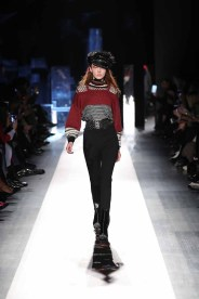 DESIGUAL_NYFW_AW17_ATWALK_LOOK 30 NEW YORK, NY - FEBRUARY 09:A model walks the runway at the Desigual show New York Fashion Week The Shows at Gallery 1, Skylight Clarkson Sq on February 9, 2017 in New York City