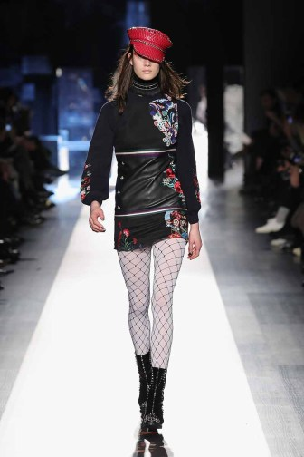 DESIGUAL_NYFW_AW17_ATWALK_LOOK 38 NEW YORK, NY - FEBRUARY 09:A model walks the runway at the Desigual show New York Fashion Week The Shows at Gallery 1, Skylight Clarkson Sq on February 9, 2017 in New York City
