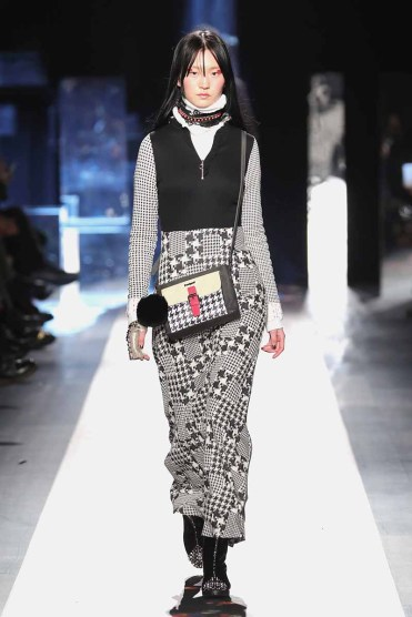 DESIGUAL_NYFW_AW17_ATWALK_LOOK 39 NEW YORK, NY - FEBRUARY 09:A model walks the runway at the Desigual show New York Fashion Week The Shows at Gallery 1, Skylight Clarkson Sq on February 9, 2017 in New York City