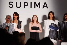 NEW YORK, NY - SEPTEMBER 07: Buxton Midyette presents winner Alyssa Wardrop, FIT, at Supima Design Competition SS18 runway show during New York Fashion Week at Pier 59 on September 7, 2017 in New York City. (Photo by Brian Ach/Getty Images for Supima Design Competition)