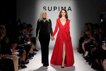 NEW YORK, NY - SEPTEMBER 07: Elizabeth Nancy Hennessey, Fashion Intstitute pf Design and Merchandising walks the runway at Supima Design Competition SS18 during New York Fashion Week at Pier 59 on September 7, 2017 in New York City. (Photo by JP Yim/Getty Images for Supima Design Competition)