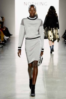 NEW YORK, NY - FEBRUARY 14: A model walks the runway for the All Comes From Nothing x COOME FW18 show at Gallery II at Spring Studios on February 14, 2018 in New York City. (Photo by Frazer Harrison/Getty Images for All Comes From Nothing)