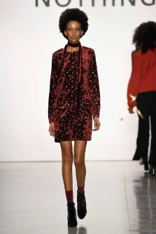 NEW YORK, NY - FEBRUARY 14: A model walks the runway for the All Comes From Nothing x COOME FW18 show at Gallery II at Spring Studios on February 14, 2018 in New York City. (Photo by Frazer Harrison/Getty Images for New York Fashion Week: The Shows )