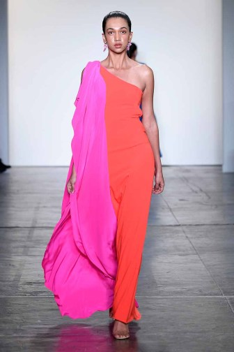 NEW YORK, NY - FEBRUARY 08: A model walks the runway for Global Fashion Collective Presents Caroline Ann Designs At New York Fashion Week Fall 2018 at Industria Studios on February 8, 2018 in New York City. (Photo by Arun Nevader/Getty Images for Global Fashion Collective)