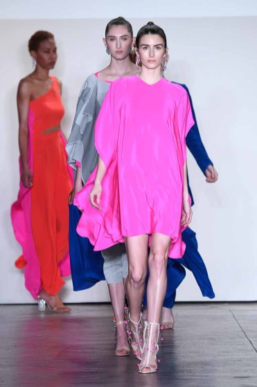 NEW YORK, NY - FEBRUARY 08: Models walk the runway for Global Fashion Collective Presents Caroline Ann Designs At New York Fashion Week Fall 2018 at Industria Studios on February 8, 2018 in New York City. (Photo by Arun Nevader/Getty Images for Global Fashion Collective)