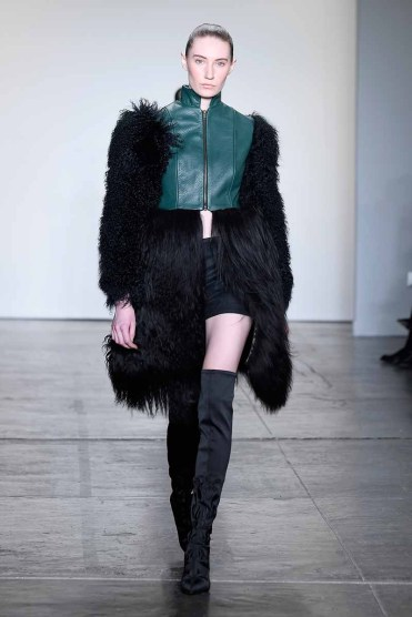 NEW YORK, NY - FEBRUARY 08: A model walks the runway for Kirsten Ley Global Fashion Collective Presents KIRSTEN LEY At New York Fashion Week Fall 2018 at Industria Studios on February 8, 2018 in New York City. (Photo by Arun Nevader/Getty Images for Global Fashion Collective)