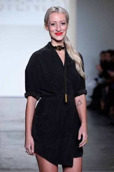 NEW YORK, NY - FEBRUARY 08: Designer Kirsten Ley walks the runway for Global Fashion Collective Presents KIRSTEN LEY At New York Fashion Week Fall 2018 at Industria Studios on February 8, 2018 in New York City. (Photo by Arun Nevader/Getty Images for Global Fashion Collective)