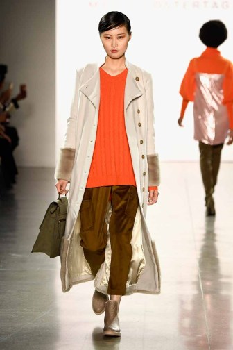NEW YORK, NY - FEBRUARY 14: A model walks the runway for Marcel Ostertag during New York Fashion Week: The Shows at Gallery II at Spring Studios on February 14, 2018 in New York City. (Photo by Frazer Harrison/Getty Images for Marcel Ostertag)