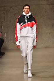 A model walks the runway wearing the Li-Ning Fall/Winter 2018 collection during 2018 New York Fashion Week at Skylight Modern on February 7, 2018 in New York City.