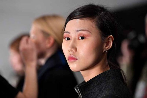 NEW YORK, NY - FEBRUARY 14: A model poses backstage for Marcel Ostertag during New York Fashion Week: The Shows at Gallery II at Spring Studios on February 14, 2018 in New York City. (Photo by Dia Dipasupil/Getty Images for Marcel Ostertag)