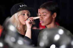 NEW YORK, NY - FEBRUARY 14: A model prepares backstage for Marcel Ostertag during New York Fashion Week: The Shows at Gallery II at Spring Studios on February 14, 2018 in New York City. (Photo by Dia Dipasupil/Getty Images for Marcel Ostertag)