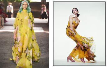 Valentino - Anjelica Huston in a yellow dress by Valentino, 1972