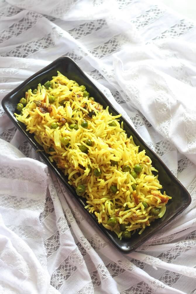 overhead view of peas pulao recipe