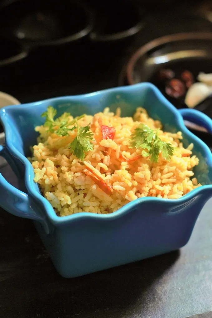Tomato Rice South Indian Style - Recipe for Tomato Rice. A very simple and easy to make rice dish will be your favorite as it is so easy to put together.